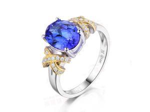 Solid 14K Multi-tone Gold AAA Natural Tanzanite Cross VS H Diamonds Wedding Ring