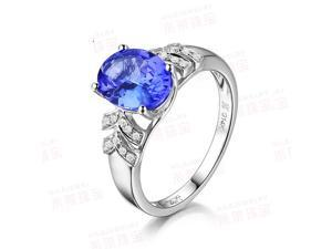 Solid 14K White Gold AAA Natural Tanzanite VS/H Diamonds Engagement Wedding Ring