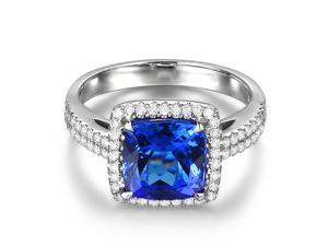 AAAA 3.32ct Natural Tanzanite VVS Diamond 18K White Gold Engagement Wedding Ring