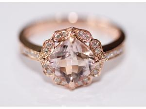 NEW DESIGN!!!Vintage Morganite and Diamond Ring