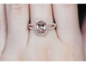 VS 7x9mm Oval Morganite Pave Diamonds 14K Rose Gold Split Shank Engagement Ring