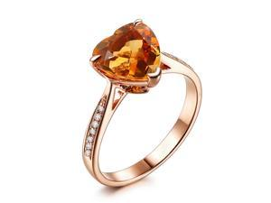 Heart shaped 9mm Citrine H/SI Diamonds Claw Prongs 14K Rose Gold Wedding Ring