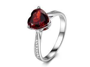 Heart Shaped 8mm Red Garnet H/SI Diamonds 14K White Gold Engagement Wedding Ring