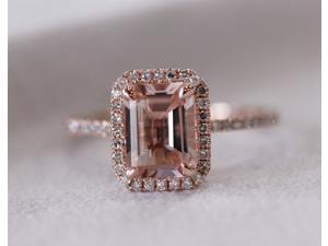 Halo Emerald Cut Morganite .26ctw Diamond Claw Prongs 14K Rose Gold Wedding Ring