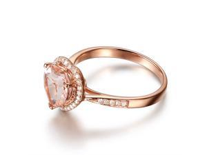8mm Heart Shaped Cut Morganite H/SI Diamonds Solid 14K Rose Gold Engagement Ring