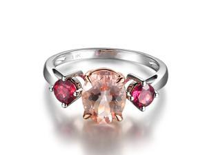 Pink Morganite and Tourmaline 2.15ctw -Solid 14K Rose Gold Wedding Promise Ring