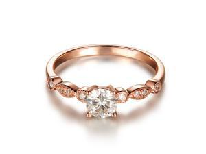 Hot Art Deco VS 5mm Moissanite and Accent Diamonds 14K Rose Gold Engagement Ring
