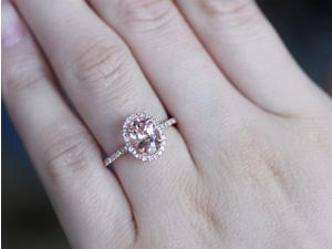 Oval Morganite in N-S direction Diamonds 14K Rose Gold Engagement Wedding Ring