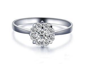 3CT DIAMETER Flower Solid 14K White Gold DIAMOND Solitaire Halo Engagement Ring