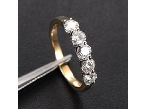 Round 3.5mm Moissanite Wedding Band Anniversary Ring 14K Two Tone Gold