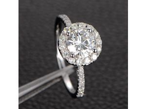Moissanite Engagement Ring Solitaire with Accents,Halo Round Cut,14K White Gold