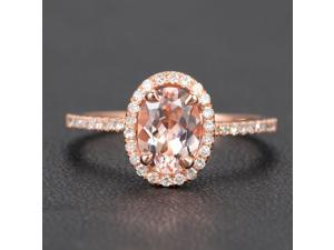 Oval Cut 6x8mm Morganite Claw Prongs 14K Rose Gold H/SI Diamonds Engagement Ring