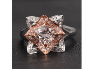 Unique Flower Morganite .45ct Diamond CLAW PRONGS 14K Two Tone Gold Wedding Ring