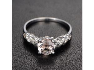 Morganite Engagement Ring with Diamond,Art Deco,4-prongs,Filigree,14K White Gold