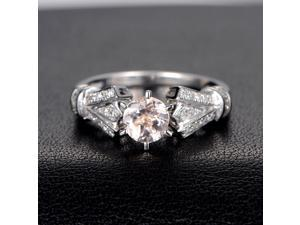 Morganite Engagement Ring with Diamonds,Antique Art Deco,6 prongs,14K White Gold