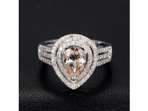 Morganite Engagement Ring with Diamonds,Pear Shape,Double Halo,14K White Gold