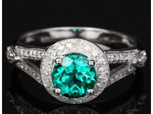 1.27ct Emerald & Diamonds Solid 14KT White Gold Pave Milgrain Engagement Ring
