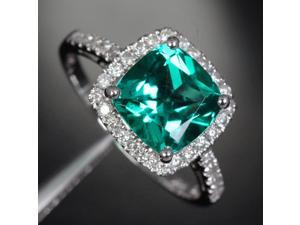 VS 8mm Emerald 14k White Gold Pave .31ctw Diamonds Halo Wedding Engagement Ring