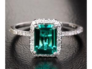 2.56ct EMERALD & H/SI DIAMOND SOLID ENGAGEMENT WEDDING RING 14K WHITE GOLD HALO