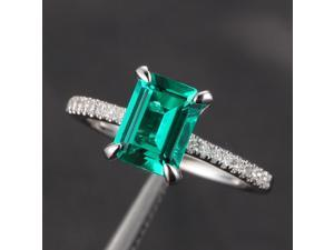 6x8mm Emerald Micro Pave Diamond CLAW PRONGS 14K White Gold Wedding Promise Ring