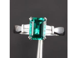 6x8mm Emerald VS Baguette .29ct Diamond Claw Prongs 14K White Gold Wedding Ring