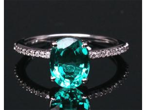 7x9mm Emerald and Diamonds 1.46ct -14k White Gold Pave Engagement Wedding Ring