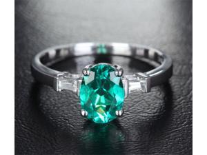 6x8mm Emerald VS Baguette Diamonds Solid 14kt White Gold Engagement Wedding Ring
