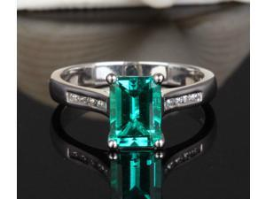 1.97ct AAA Emerald /Channel Diamond Solid 14K White Gold Engagement Wedding Ring