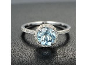 Claw Prongs 7mm Aquamarine .27ct Diamonds 14K White Gold Engagement Promise Ring