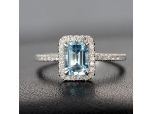 Claw Prongs Emerald Cut 5x7mm Aquamarine 14K White Gold Diamonds Promise Ring