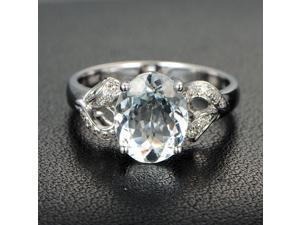 Oval Cut 8x10mm Aquamarine H SI Diamonds 14K White Gold Engagement Promise Ring