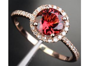 7mm Pink Tourmaline H/SI Diamonds Solid 14k Rose Gold Engagement Wedding Ring