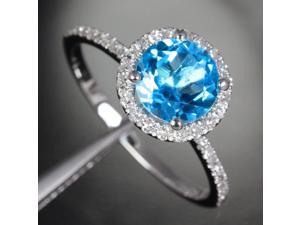 Natural 7mm Blue Topaz 14k White Gold .22ctw Diamonds Engagement Wedding Ring
