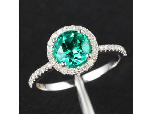 6.5mm Emerald Halo SI Diamond 14K White Gold Engagement Wedding Ring THIN DESIGN