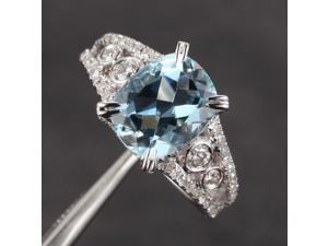 8x10mm VS Aquamarine .71ct Diamond Claw Prongs Antique Engagement Wedding Ring
