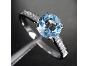 7mm Aquamarine 14k White Gold Pave H SI Diamonds Engagement/Promise Wedding Ring