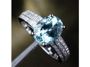 8x10mm Aquamarine .37ctw Diamonds 14k White Gold Engagement Wedding Promise Ring