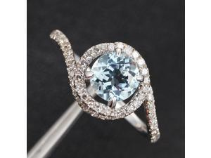 Natural Aquamarine Micro Pave H/SI Diamond Claw Prongs 14K White Gold Halo Ring