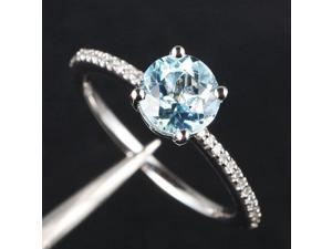Round Cut 6.5mm Aquamarine and Diamonds 14K White Gold Engagement Wedding Ring