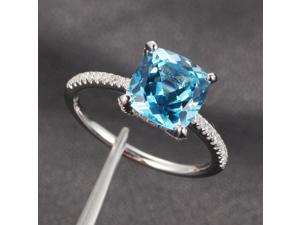 8mm Cushion Aquamarine Micro Pave H/SI Diamond Claw Prongs 14K White Gold Ring