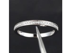 HALF Eternity Band MILGRAIN Pave H/SI Diamond Solid 14K White Gold Wedding Ring