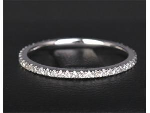 Eternity Band H/SI Diamonds Solid 14k White Gold Pave Wedding Anniversary Ring