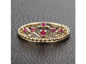 Unique Crown Natural Ruby Solid 14K Yellow Gold Engagement Wedding Band Ring