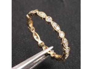 MILGRAIN Bezel .32ctw Diamond Solid 14K Yellow Gold Wedding Eternity Band Ring