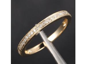 MILGRAIN Pave Diamond 14K Yellow Gold Wedding Half Eternity Wedding Band Ring