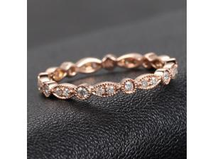 Stackable Art Deco Bezel Diamond 14K Rose Gold Wedding Ring