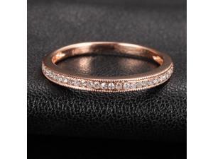 MILGRAIN Pave Diamond 14K Rose Gold Wedding Half Eternity Wedding Band Ring