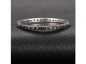 BLACK Micro Pave .60ct Diamonds 14K White Gold Wedding Band Full Eternity Ring