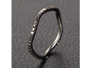 Unique Design .48ct Black Diamond 14K White Gold Wedding Band Full Eternity Ring
