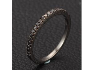 Micro Pave .25ctw Black Diamonds 14K White Gold Wedding Band Half Eternity Ring